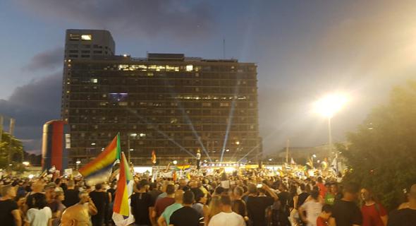 ההפגנה נגד חוק הלאום בכיכר רבין, צילום: שי סלינס