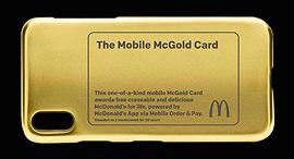 כיסוי טלפון מוזהב לזוכה תחרות מקדונלד'ס ארוחה חינם לכל החיים, צילום: Mcdonald's