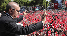 נשיא טורקיה ארדואן ביום שישי, צילום: איי פי
