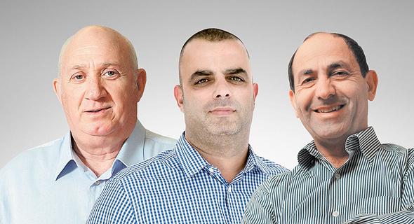 מימין: רמי לוי, אייל רביד ואיציק אברכהן. אפקט המחאה החברתית מתמוסס, צילומים: גיא אסיאג, צפריר אביוב, עמית שעל