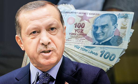 ארדואן והלירה הטורקית, צילום: איי אף פי, רויטרס