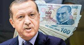 סטריפון ארדואן לירה טורקית מטבע כסף שטרות טורקיה, צילום: איי אף פי, רויטרס