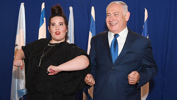 Netanyahu (right) with Israeli Eurovision winner Netta Barzilai. Photo: Haim Zach GPO