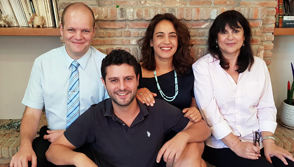 Air Doctor executives Yegor Kurbachev (left), Yam Derfler, Efrat Sagi-Ofir and Jenny Cohen Derfler. Photo: PR