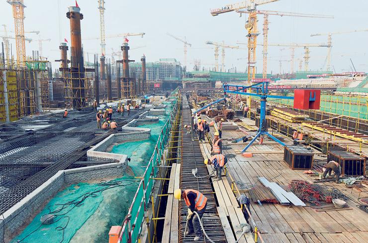 העבודות להקמת הטרמינל. ייפתח באוקטובר 2019, צילום: גטי אימג
