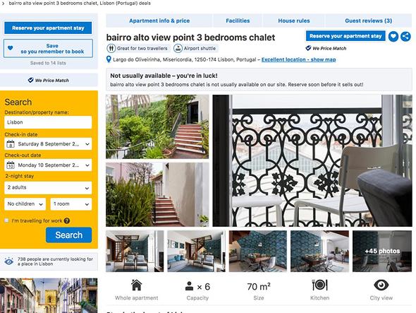 דירה להשכרה ליסבון 402 דולר ב Airbnb 731 דולר ב booking, צילום מסך: booking.com