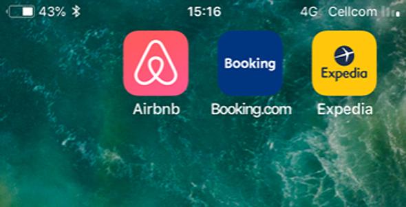 אפליקציות תיירות bookink expedia Airbnb