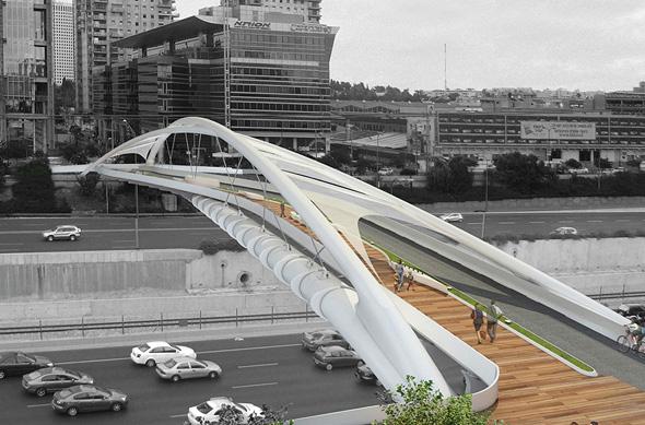 הדמיית גשר יהודית מעל נתיבית איילון, הדמיה: חן אדריכלים