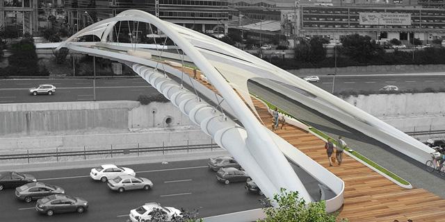 """גשר הולכי הרגל החדש בנתיבי איילון בת""""א יעצור את התנועה ב-6 סופי שבוע"""