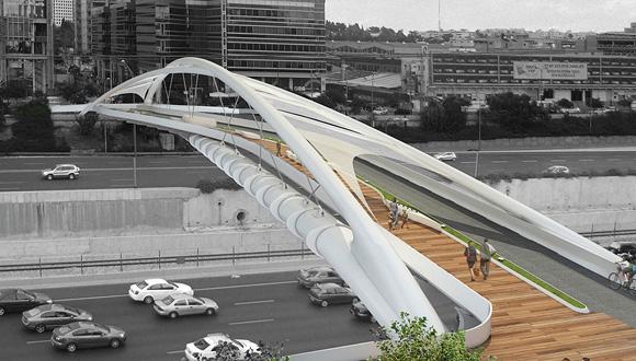 """הדמיית גשר יהודית בת""""א, הדמיה: חן אדריכלים"""