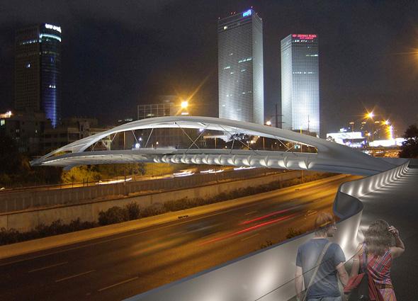 """כך ייראה """"גשר יהודית"""" בלילה, הדמיה: חן אדריכלים"""