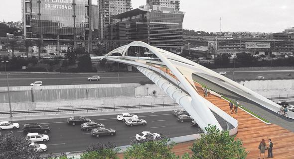 הדמיה של גשר יהודית תל אביב, צילום: חן אדריכלים