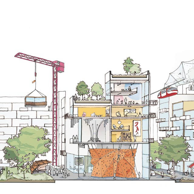 מוסף שבועי 23.8.18 איור העיר שעלתה מן האינטרנט, איור: Sidewalk Labs