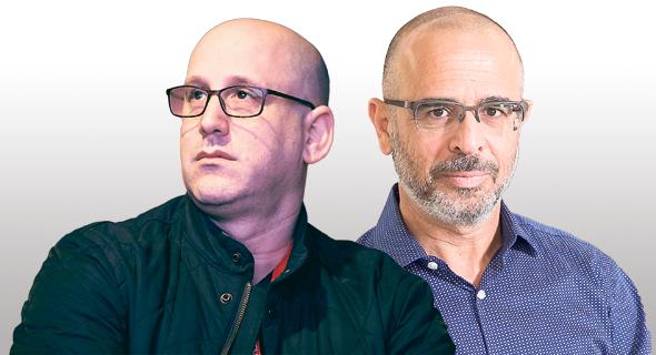 """משמאל: מנכ""""ל סלקום ניר שטרן ומנכ""""ל פרטנר איציק בינבנישתי"""