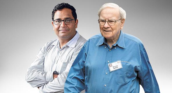 מימין אייל ההון וורן באפט ו שקאר שארמה מיליארדר הודי, צילום: בלומברג