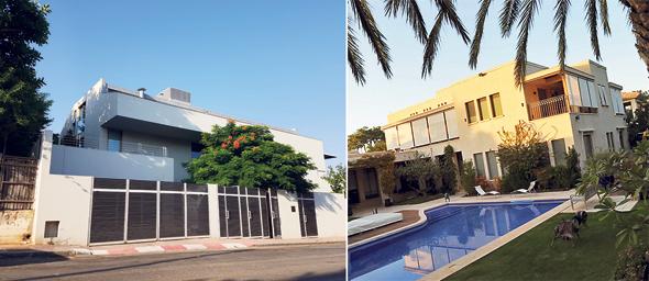 מימין: הווילה של דנקנר בהרצליה פיתוח שאותה מכר אשתקד, והווילה הסמוכה שבה הוא מתגורר כיום בשכירות