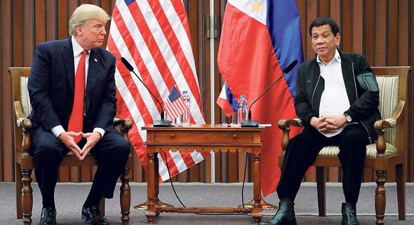 נשיא הפיליפינים רודריגו דוטרטה והנשיא טראמפ, צילום: רויטרס