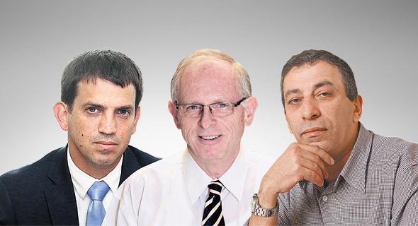 """מימין: יו""""ר ועד העובדים פרופסר בן חמו, המנכ""""ל החדש פרופ' אהוד דודסון וראש אגף תקציבים שאול מרידור"""