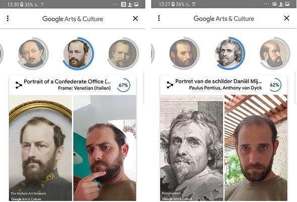 גוגל זיהוי פנים אמנות  arts and culture