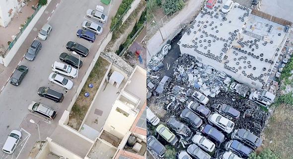 """תצלומי אוויר של שני היישובים, המוקרנים בתערוכה (מימין). """"יישובים סמוכים גיאוגרפית אך רחוקים אידיאולוגית"""""""