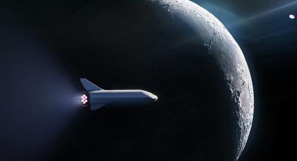הדמיית חללית של SPACEX מסביב לירח
