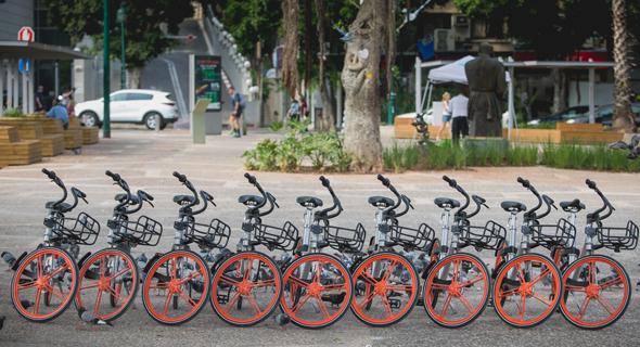 Mobike bicycles in Ramat Gan. Photo: Ilan Sapira