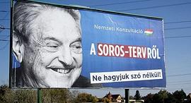 שלט חוצות הונגריה נגד פעילות ג'ורג' סורוס, צילום: AFP