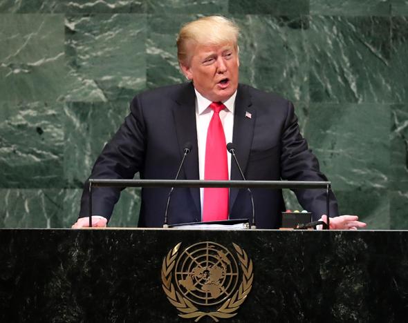 """טראמפ בנאומו באו""""ם"""