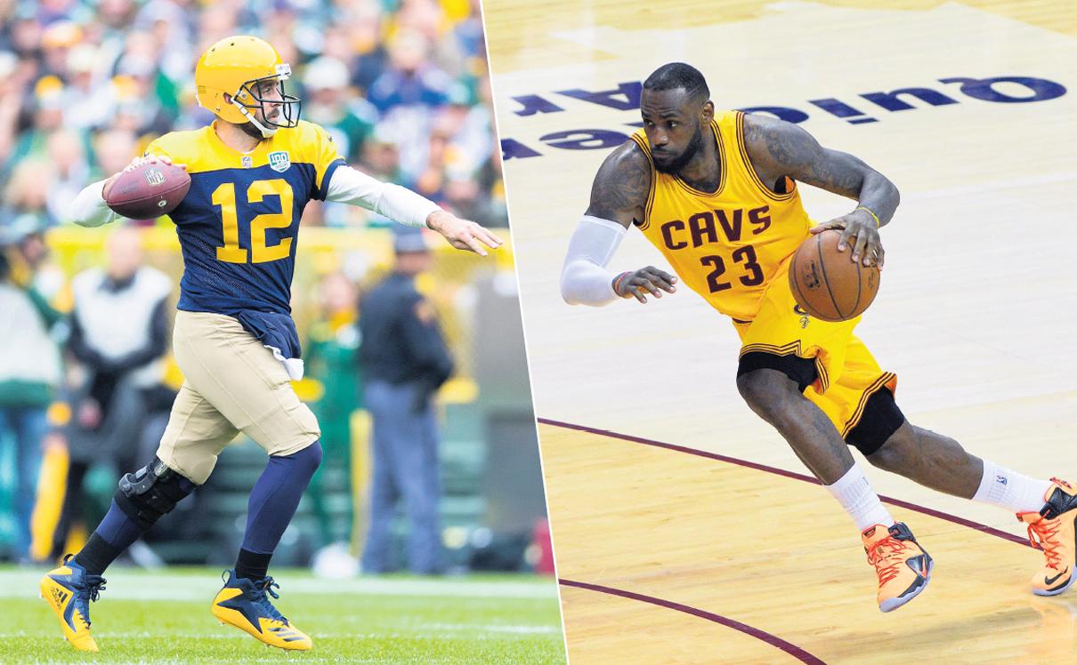 מוסף שבועי 4.10.18 כדורסל מימין לברון ג'יימס ו ארון רוג'רס, צילום: אי.פי.אי, רויטרס