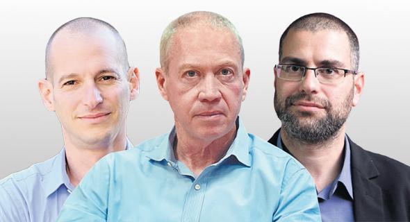 """מימין: מנכ""""ל משרד הבינוי חגי רזניק, שר הבינוי יואב גלנט, וסגן הממונה על התקציבים באוצר אריאל יוצר"""