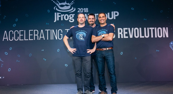 JFrog co-founders Simon (left), Landman, and Ben Haim. Photo: PR