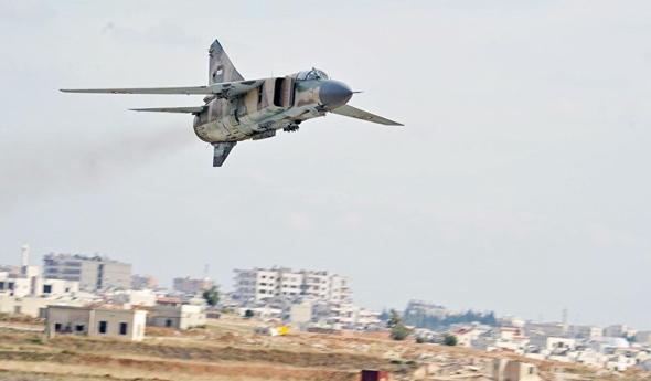 מיג 23 באוויר, מעל סוריה, צילום: Sputnik
