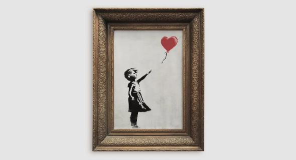 """התמונה """"ילדה עם בלון אדום"""" שנמכרה במכירה פומבית ונהרסה על ידי האומן"""