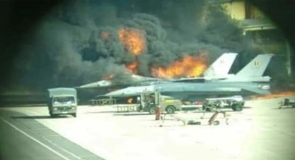 F-16 עולה באש בבסיס בבלגיה, צילום: טוויטר
