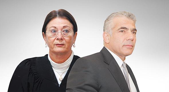 """מימין יו""""ר יש עתיד יאיר לפיד ונשיאת העליון אסתר חיות, צילום: אוראל כהן, אלכס קולומויסקי"""