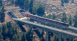 The train entering a tunnel in the Jerusalem mountains. Photo: Reuters