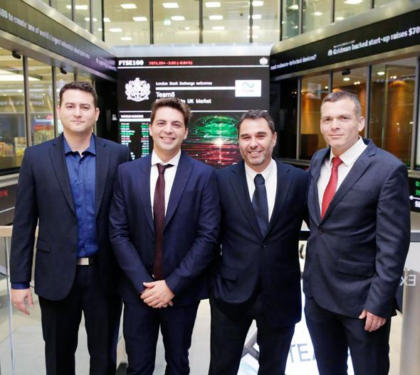 מימין: מייסדי Team8 נדב צפריר, ישראל גרימברג ולירן גרינברג, וראש צוות המחקר של Team8, אסף מסחרי