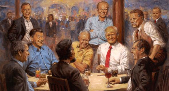 טראמפ תלה בבית הלבן ציור שלו שותה קולה עם לינקולן ורוזוולט