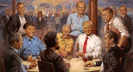 טראמפ, לינקולן ורוזוולט בציור, ציור: Andy Thomas
