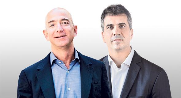 מימין: שר ה כלכלה אלי כהן ומייסד אמזון ג'ף בזוס, צילום: בלומברג