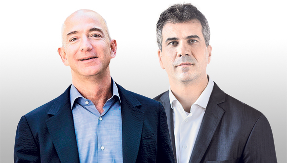 מימין: שר הכלכלה אלי כהן ומייסד אמזון ג'ף בזוס, צילום: בלומברג