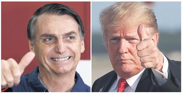 """טראמפ (מימין) ובולסונארו. """"הממשלה חייבת לשקף את הרצון הפוליטי של ה'בסיס'"""""""
