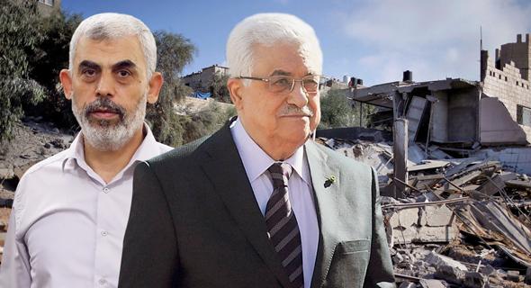 יחיא סינוואר מנהיג חמאס ב רצועת עזה ו אבו מאזן, צילום: גטי, רויטרס