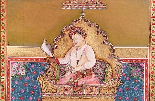 הקיסר המוגולי ג'לאל אוד-דין אכבר בן המאה ה-14, ובידו יונת דואר