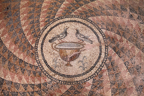 פסיפס מהמאה השישית, בו מוצגות יוני דואר