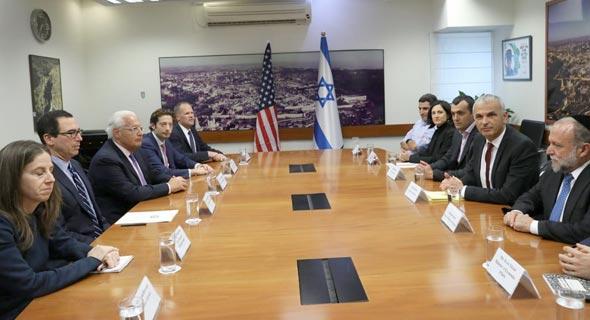 פגישת שר האוצר משה כחלון ומזכיר האוצר האמריקאי סטיבן מנוצ'ין, צילום: נועם ריבקין פנטון