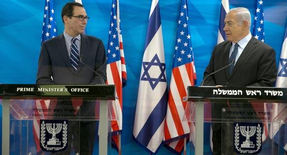 ראש הממשלה בנימין נתניהו מזכיר האוצר האמריקאי סטיבן מנושין, צילום: אוהד צויגנברג