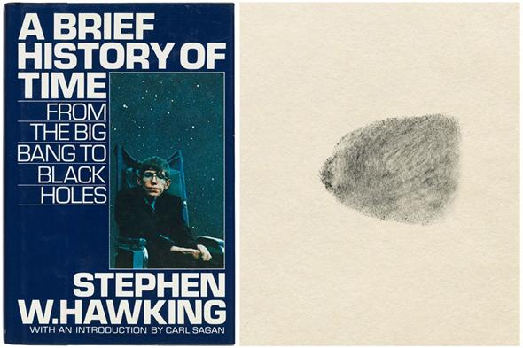 ספר קיצור תולדות הזמן טביעת אצבע סטיבן הוקינג מכירה פומבית, צילום: Christy's