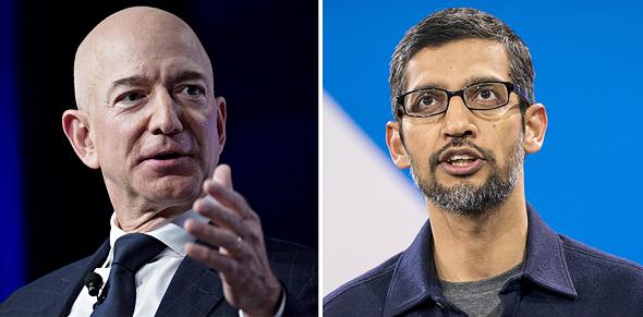 """מימין מנכ""""ל גוגל סונדאר פיצ'אי ומנכ""""ל אמזון ג'ף בזוס, צילום: בלומברג"""