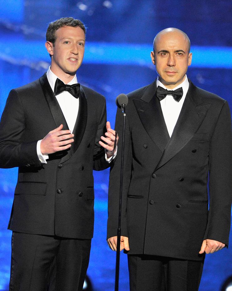מילנר וצוקברג בטקס הענקת פרסי Breakthrough, 2015. שותפות עסקית ופילנתרופית, וחברות אישית